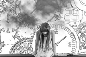 girl on a bench in front of a collage of clocks