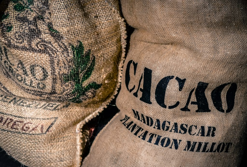 Cacao Powder - Image of burlap bags of cacao from Madagascar