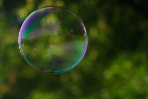 A soap bubble in front of greenery
