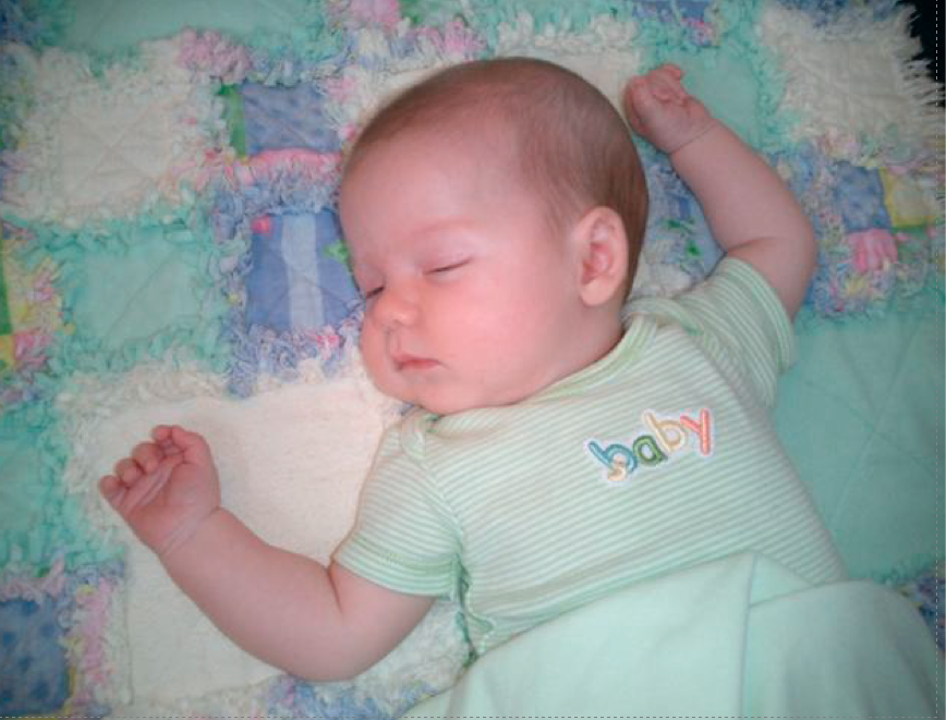 Picture of baby sleeping peacefully, free of Colic