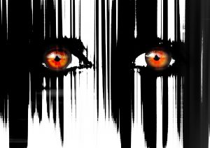 Panic Attack - Image of a pair of fearful eyes; pop art