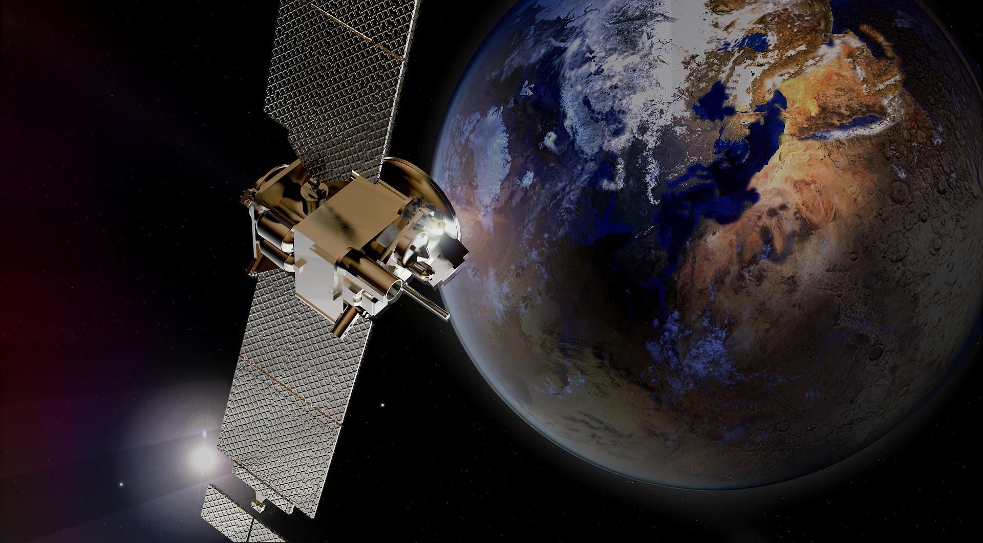 Spacecraft in front of Mars