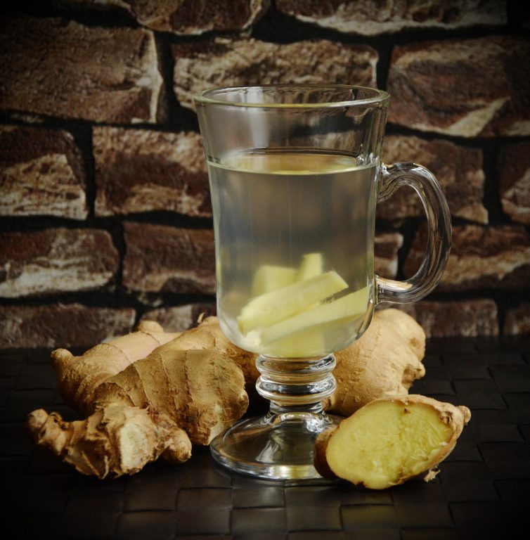 Image of ginger tea and fresh ginger
