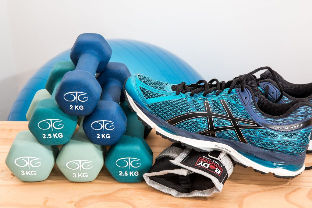 dumbells, yoga ball, tennis shoe
