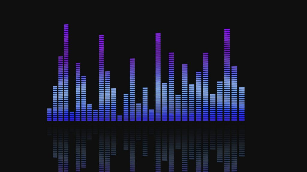 Digital equalizer bars in blue against a black background