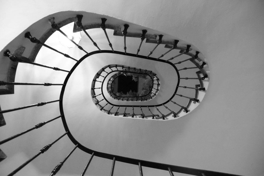 Vertigo - looking down a tall stairway or ladder